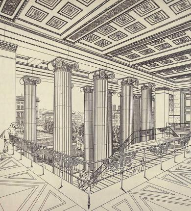 Drawing of Entrance Staircase, Altes Museum, Berlin, by Karl Friedrich Schinkel, 1829