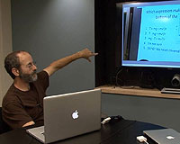 Professor David Hammer teaching while captured on video