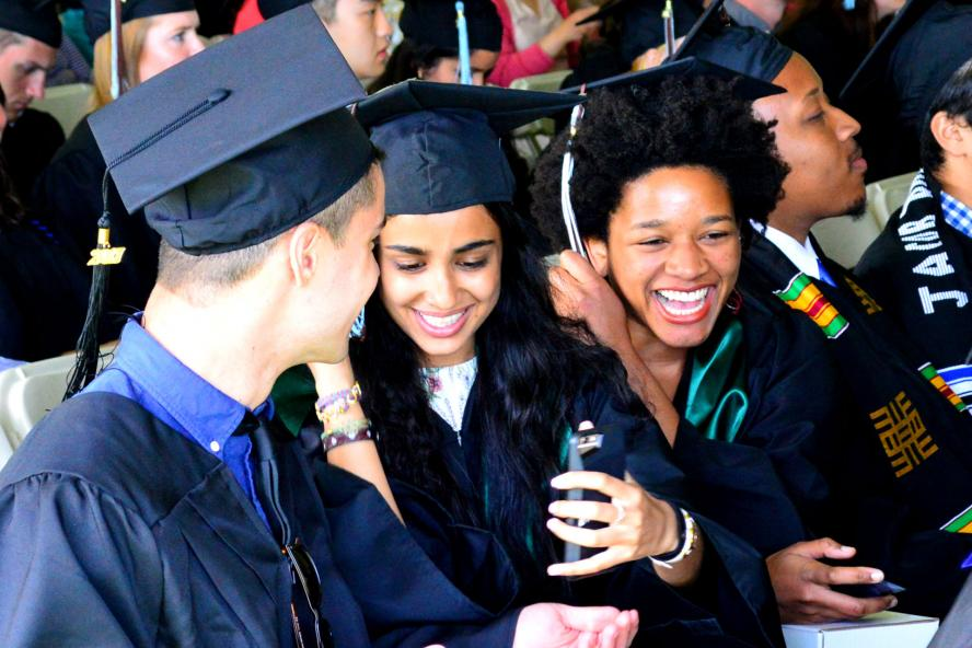 Diverse students at graduation