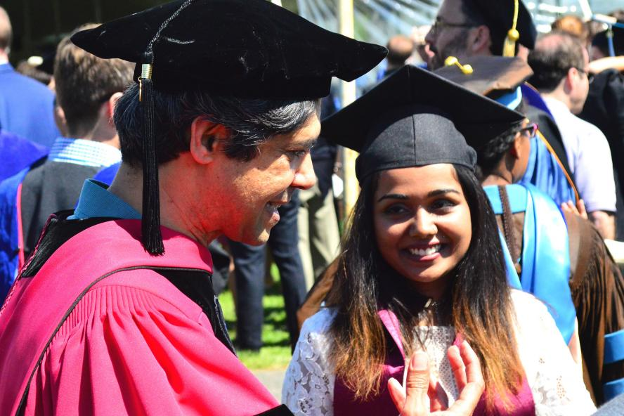 Professor Aniruddh D. Patel with student at graduation
