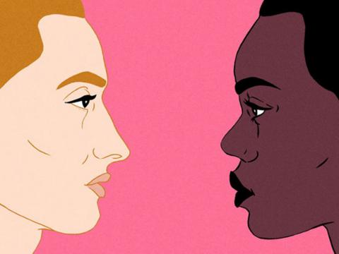 Illustration of a white person and black person facing each other