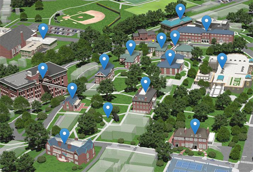 Map artwork of the Tufts campus
