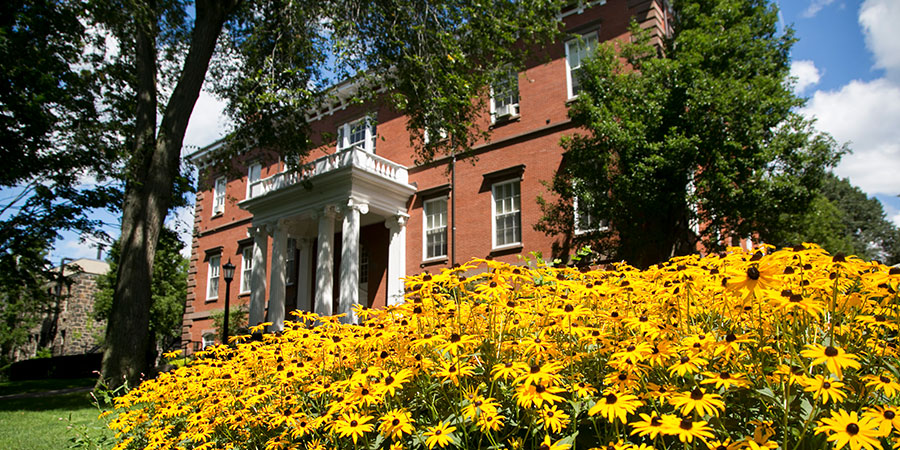 Ballou Hall in the spring