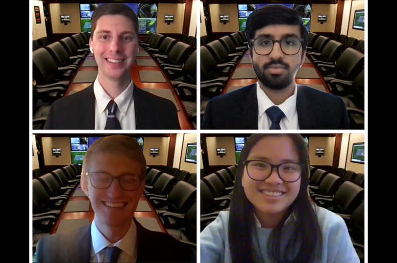 Clockwise from top left: Team members Grant Versfeld, Akash Mishra, Ann Marie Burke, and Mike Rogove.