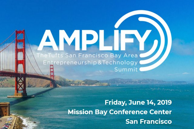 A photo of the Golden Gate Bridge with the Amplify logo