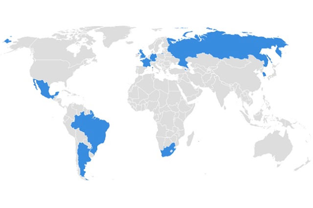 A map of the world depicts where Tufts' Fulbright students will travel