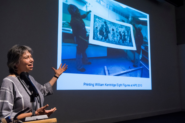 Kim Berman speaking at the SMFA at Tufts in February