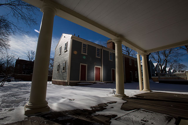 A view of the Slave Quarters from the side entrance to the Royall House in Medford, MA
