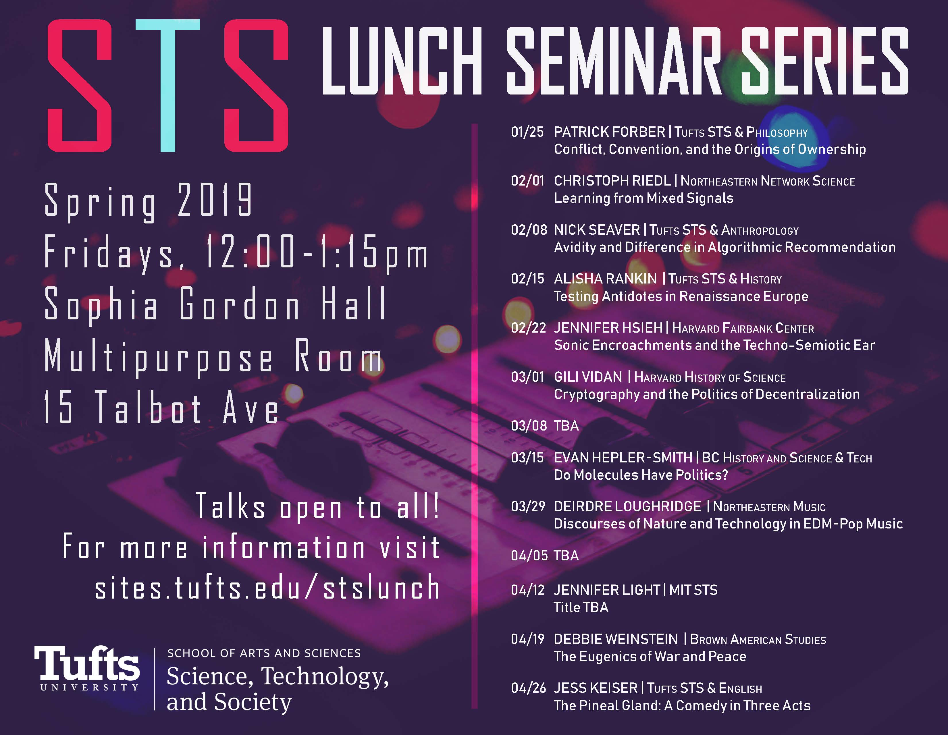 STS Lunch Seminar Series flyer